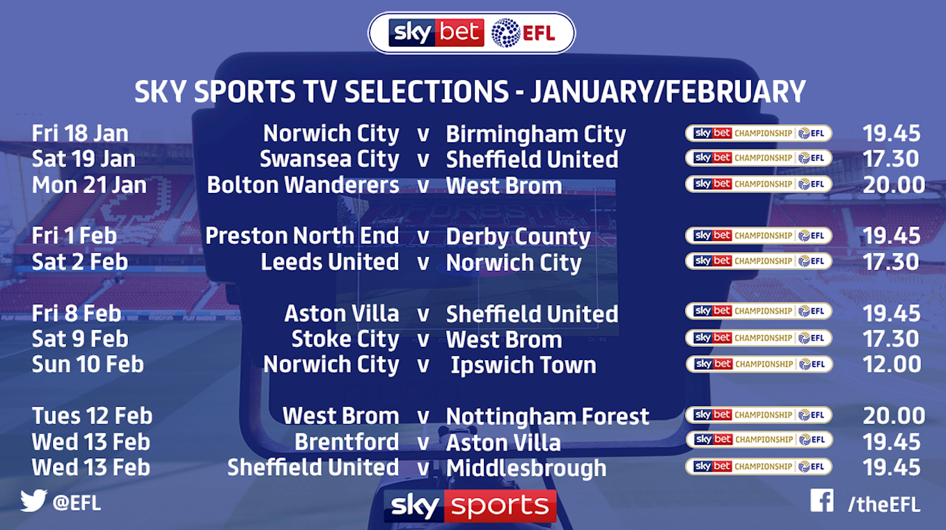 A further eleven EFL fixtures selected for live Sky Sports coverage