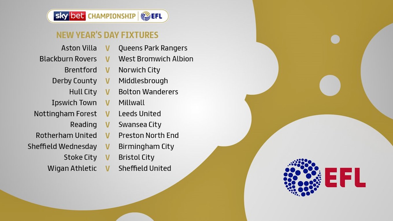 Sky Bet Championship New Year S Day Fixtures News Efl