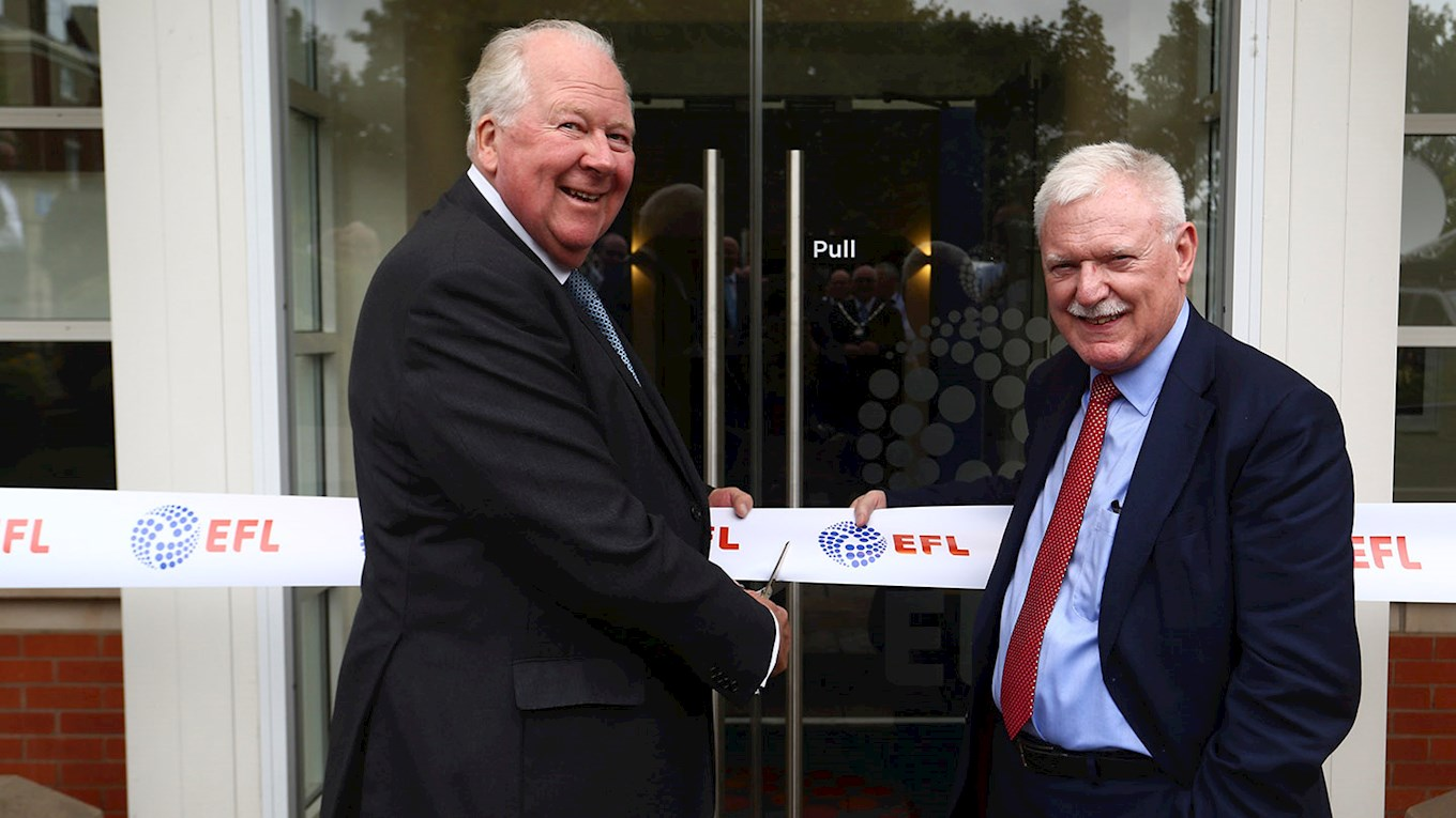 EFL Chairman, Ian Lenagan, and Lord Shuttleworth, Lord Lieutenant of Lancashire, cut the ribbon and open EFL House.
